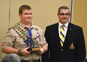 2015 NCSSAR Eagle Scout Scholarship Winner Brandon Lawrence of Henderson, NC, and NCSSAR Eagle Scout program chair Steve Thrasher, in Burlington, NC, April 18, 2015