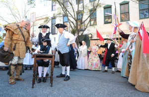 The Lower Cape Fear Chapter reenacts the Stamp Act Revolt in Wilmington, NC on November 14 2015.