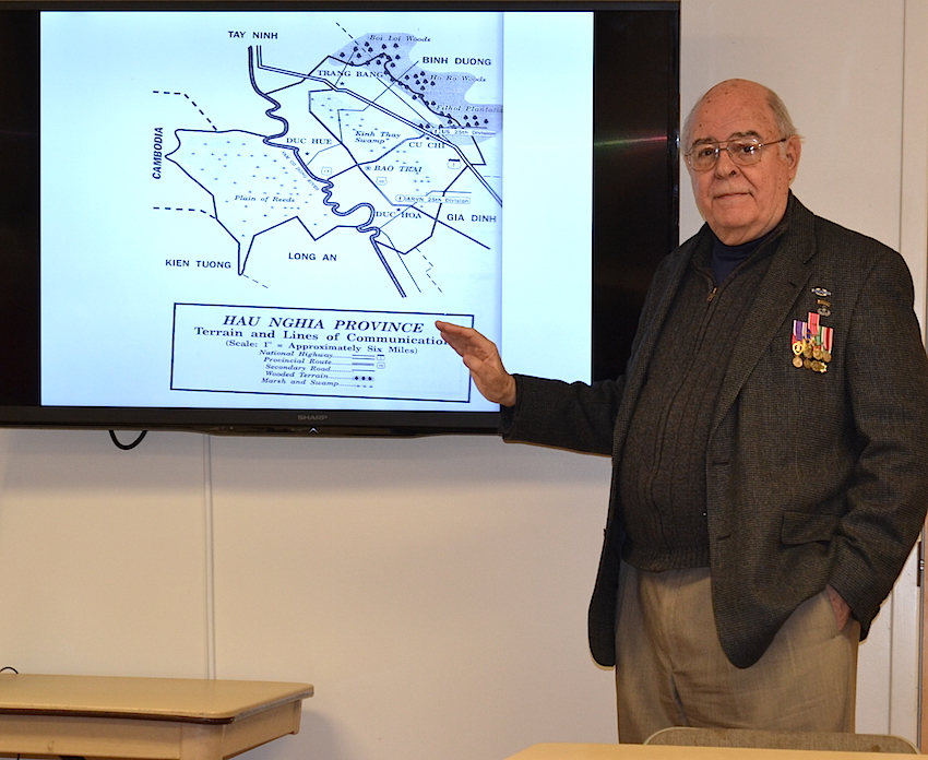 Mecklenburg SAR chapter member John Allen delivers his Vietnam War experience to the Alexandriana and Mecklenburg DAR chapters on February 13 2016 at Hopewell Presbyterian Church in Huntersville, NC.