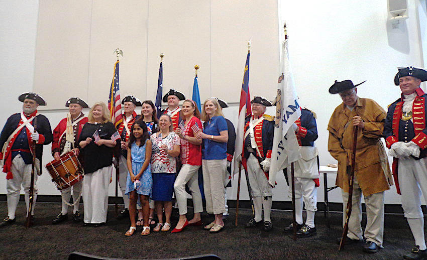 Mecklenburg SAR Color Guard poses on July 4 2017 with members of the Mecklenburg Declaration of Independence DAR Chapter at the Charlotte Museum of History.
