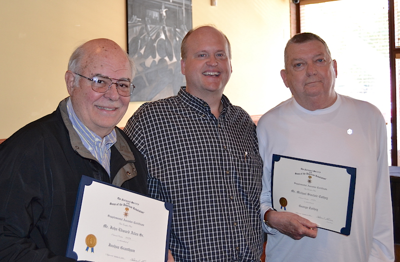 Mecklenburg chapter SAR members Mike Cathey and John Allen receive supplemental memberships on October 22 2015.