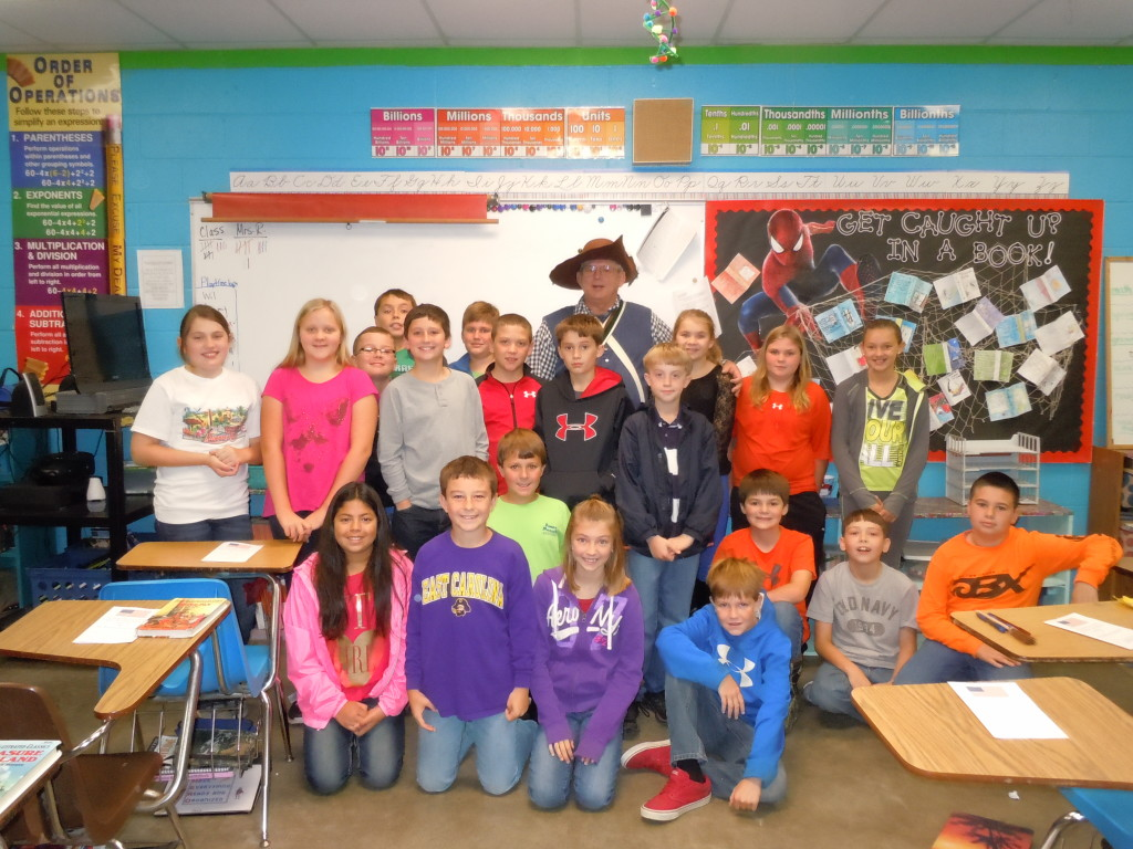 Wilson with 5th grade students at Halifax Academy