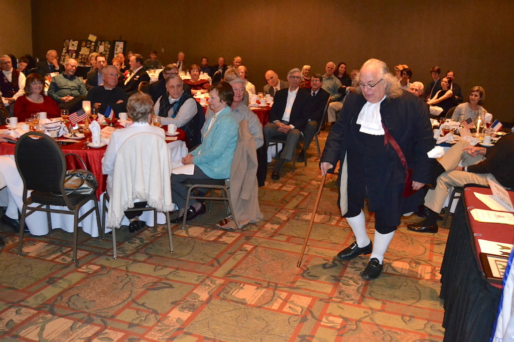Benjamin Franklin visits Charlotte on February 18 2016 at the Mecklenburg Chapter's annual President's Day Community Dinner.