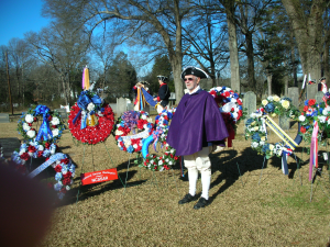 New Bern Chapter President Rolf Maris, at the Hopewell Presbyterian Church.Grave Marking