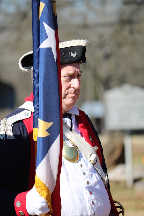 North Carolina SAR president Tim Berly at the 235th Anniversary of the Battle of Cowan's Ford on January 30 2016 in Huntersville, NC.