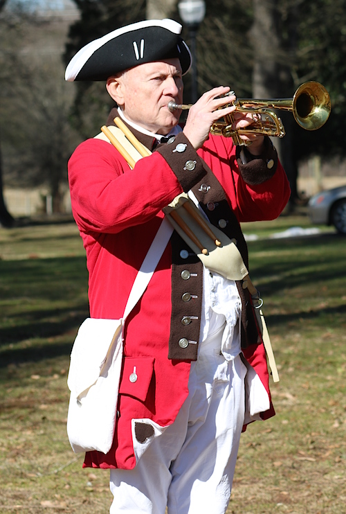 Mecklenburg chapter member Tom Phlegar plays TAPS at the 235th Anniversary of the Battle of Cowan's Ford on January 30 2016.