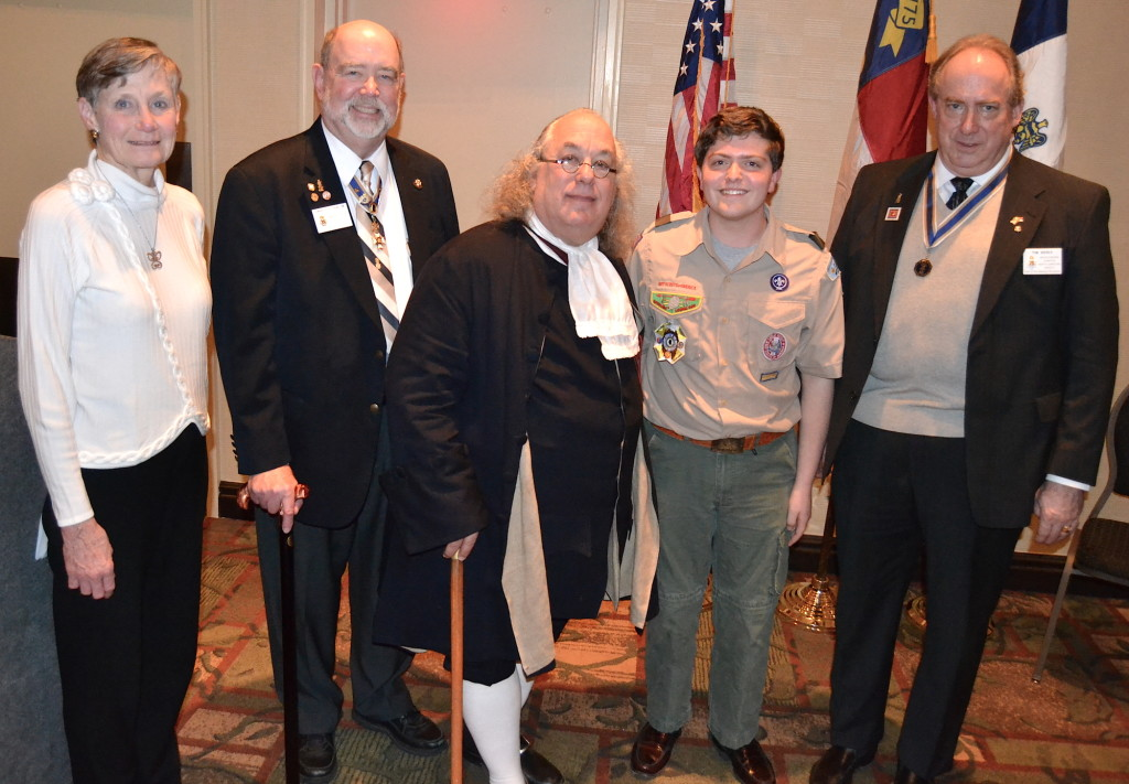 Mecklenburg chapter SAR presented their annual Eagle Scout SAR scholarship to Eagle Scout Bo Carlson on February 18 2016 in Charlotte.