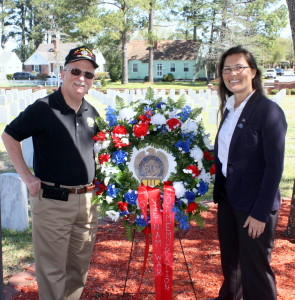 Gary Gillette, New Bern SAR Chapter Vice President & Registrar and New Bern National Cemetery's Program Assistant, Sandra N. LaRochelle.