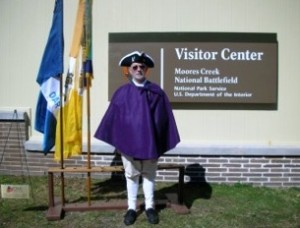 Rolf Maris, President of the New Bern Chapter, attends the Moore's Creek Battlefield anniversary.