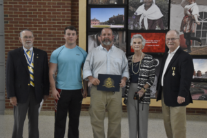 Pictured, left to right, are Rolf Maris (President, New Bern Chapter), Alden Hobbs, III, Alden Hobbs, Jr, Martha Ann Smith and Gary Gillette (VP and Registrar, New Bern Chapter).