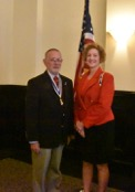 Pictured are DAR Regent Nancy Melling and Rolf Maris.