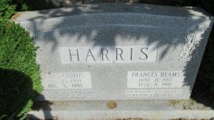 James Carlos and Frances Hall Reams Harris Headstone