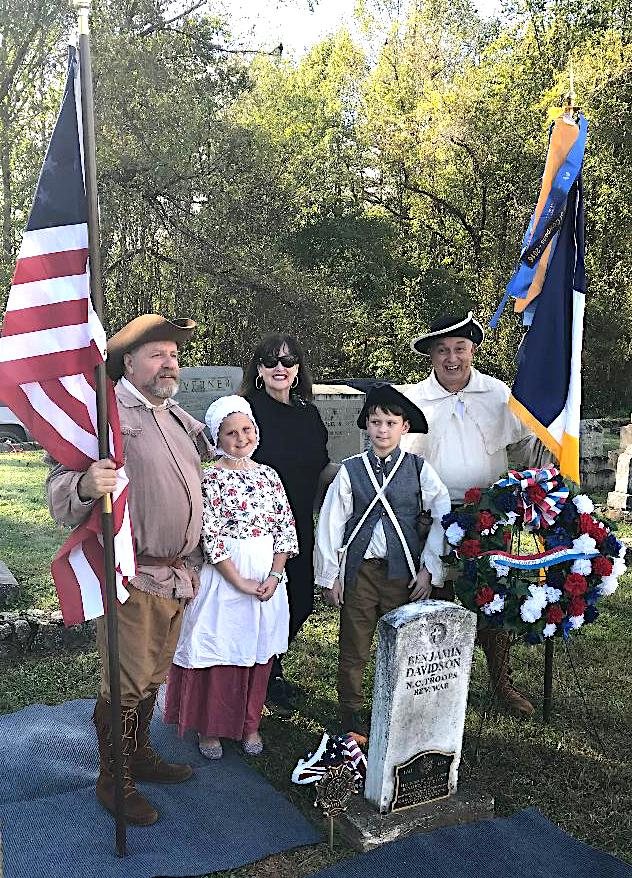 Blue Ridge Mountain Chapter, North Carolina SAR, marked the graves of two Patriots at the Davidson River Cemetery in Transylvania County, NC, on October 13 2018.