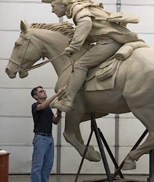 Historical Revolutionary War sculptor Chas Fagan visits the Mecklenburg SAR on May 21, 2020, to discuss his famous pieces of work, including Captain Jack Rides Again in Charlotte.